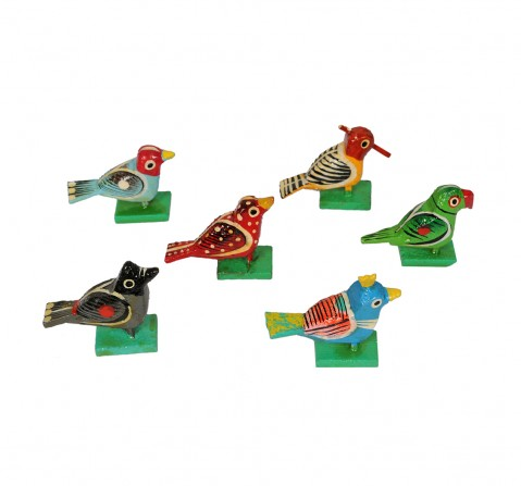 Craft & Culture Bird Set Of 6 Assorted Wooden Toy for Kids age 3Y+
