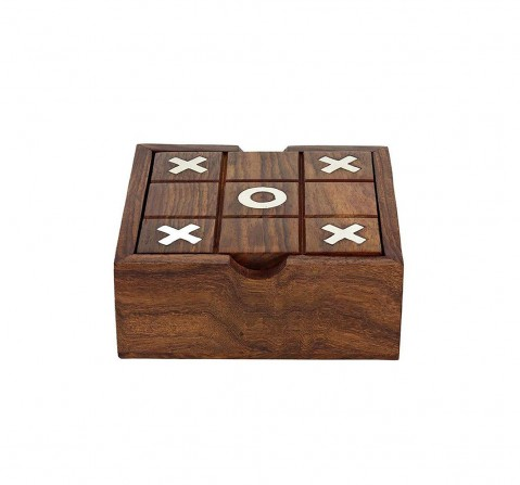 Craft & Culture TTic Tac Toe/Solitaire (2 Games) for Kids age 5Y+ - 4 Cm (Wood)