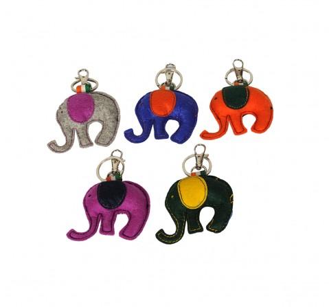 Vibrant India VI Elephant Felt Keychain for Kids age 3Y+