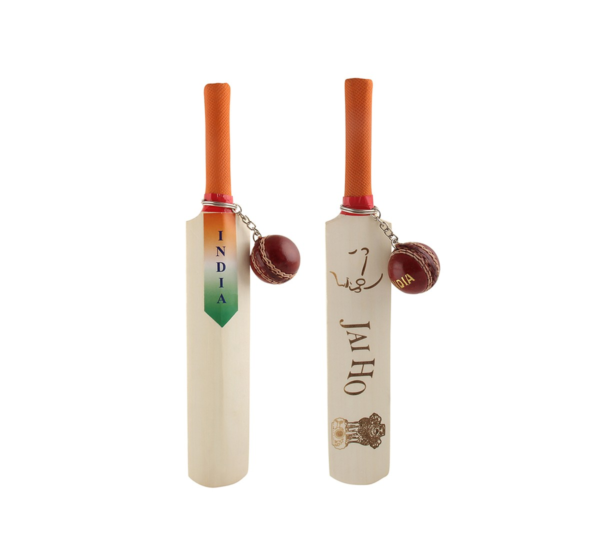Vibrant India VI Bat & Ball Engraved Wooden Toys for Kids age 3Y+