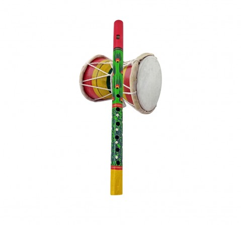 Vibrant India VI Flute And Damru Combo for Kids age 3Y+