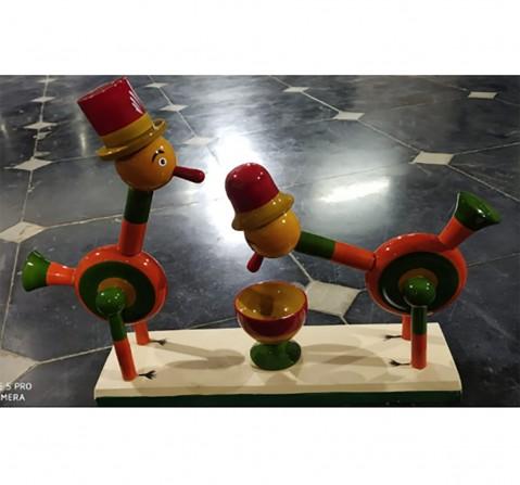 Folktales Handmade Clown Bird Set Wooden Toys for Kids age 3Y+ (Orange)