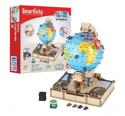 Smartivity Labs GLOBE Trotters Augmented Reality STEM Educational DIY Construction Toy Kit Easy Instructions Experiment Play Learn Science Free App for Kids age 7Y+