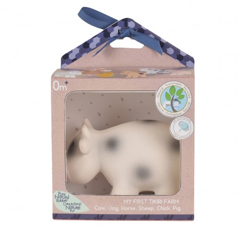 Tikiri Toys CowNatural Rubber Rattle & Bath Toy, 0M+ (Multicolor)