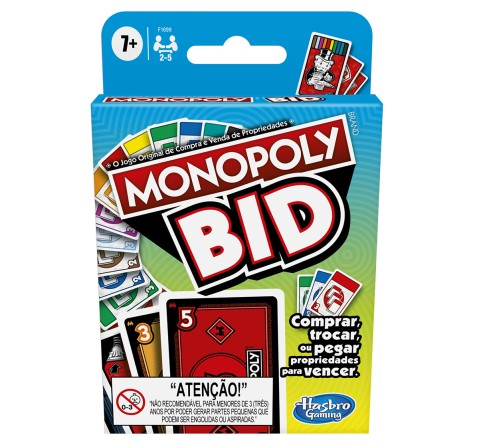 Monopoly Bid Game, Quick-Playing Card Game For 4 Players, Game For Families And Children, Unisex, 7Y+ (Multicolor)