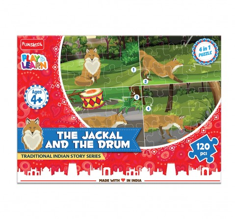Play & Learn The Jackal And The Drum Puzzle 120 Pcs, 2Y+ (Multicolor)