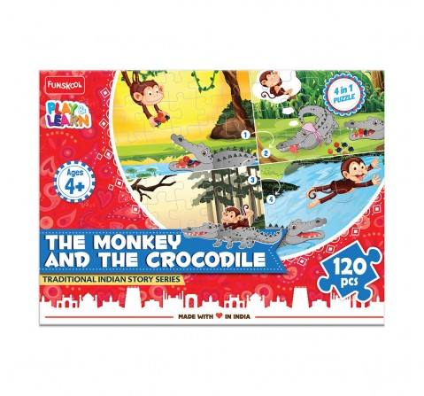 Play & Learn The Monkey And The Crocodile 120 Pcs, 2Y+ (Multicolor)