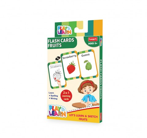 Play & Learn Flash Cards Fruits - Let'S Learn And Sketch Fruits, 2Y+ (Multicolor)