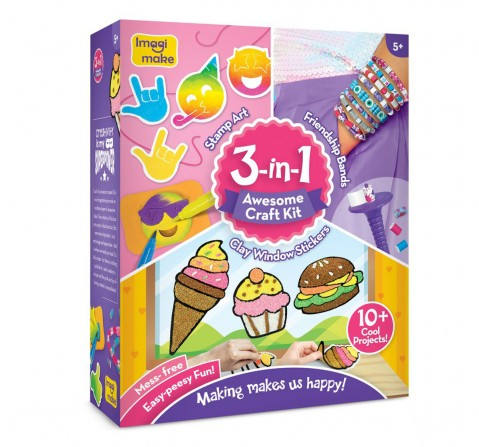 Imagimake 3-In-1 Awesome Craft Kit, 4Y+ (Multicolor)