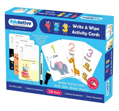 Eduketive 123 Numbers & Counting Write & Wipe Reusable Activity 3-6 yrs Writing Practice Preschool Learning Educational Game with Exercise Book