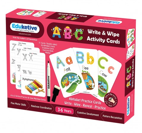 Eduketive ABC Letters Write & Wipe Reusable Activity 3-6 yrs Writing Practice Preschool Learning Educational Game with Exercise Book