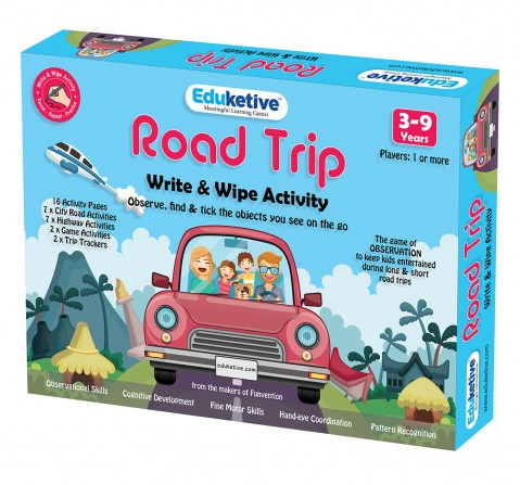 Eduketive Road Trip Write & Wipe Reusable Activity 3-9 Years Traveling Game Activitiy for Kids Observational Games with Marker - Gift for Kids