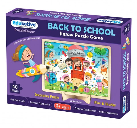 Eduketive PuzzleDecor Back to School Decorative 40 Pieces Jigsaw Puzzle with Stand Kids Age 3-9 Years Preschool