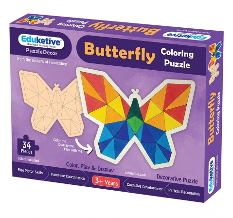 Eduketive PuzzleDecor Butterfly Decorative Coloring Puzzle with Stand 34 Pieces Kids Age 3-12 Years Old + Free Colors