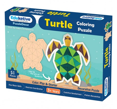 Eduketive PuzzleDecor Turtle Decorative Coloring Puzzle with Stand 51 Pieces Kids Age 3-12 Years Old + Free Colors