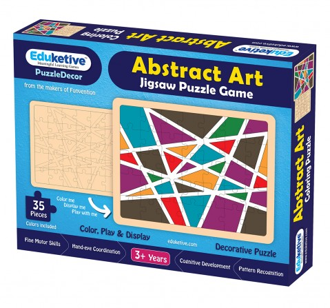 Eduketive PuzzleDecor Abstract Art Decorative Coloring Puzzle with Stand 35 Pieces Kids Age 3-12 Years Old + Free Colors