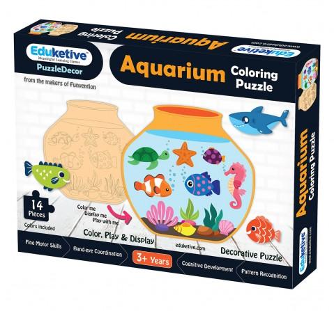 Eduketive PuzzleDecor Aquarium Decorative Coloring Puzzle with Stand 14 Pieces Kids Age 3-12 Years Old + Free Colors