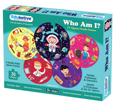 Eduketive WHO AM I - Educational Puzzle Learn About 12 Professions Both Sided Printed 30 Pieces Puzzle Kids Age 3-9 Years Old
