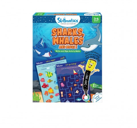Skillmatics Sharks, Whales & More Write & Wipe Activity Mats, Multicolor, 3Y+