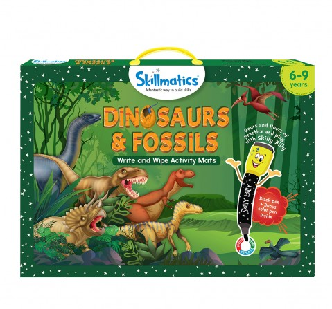 Skillmatics Dinosaurs & Fossils Write & Wipe Activity Mats, Multicolor, 6Y+