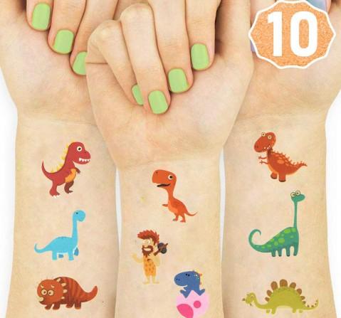 Party Propz 10 Pcs Dino Temporary Tattoos, Unisex, 3Y+ (Multicolor)