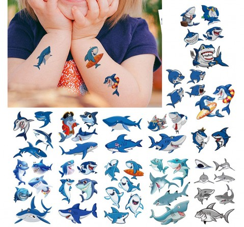 Party Propz 10 Pcs Shark Temporary Tattoo, Unisex, 3Y+ (Multicolor)
