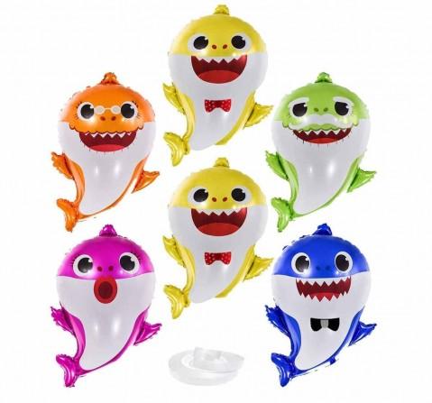 Party Propz 6Pc Baby Shark Balloons, Unisex, 3Y+ (Multicolor)