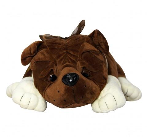 Soft Buddies Lying Bull Dog Large, Unisex, 9M+ (Dark Brown)