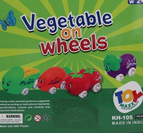 Toyspree Vegetable On Wheels ( Set Of 4Pc ), Unisex, 18M+ (Multicolour)