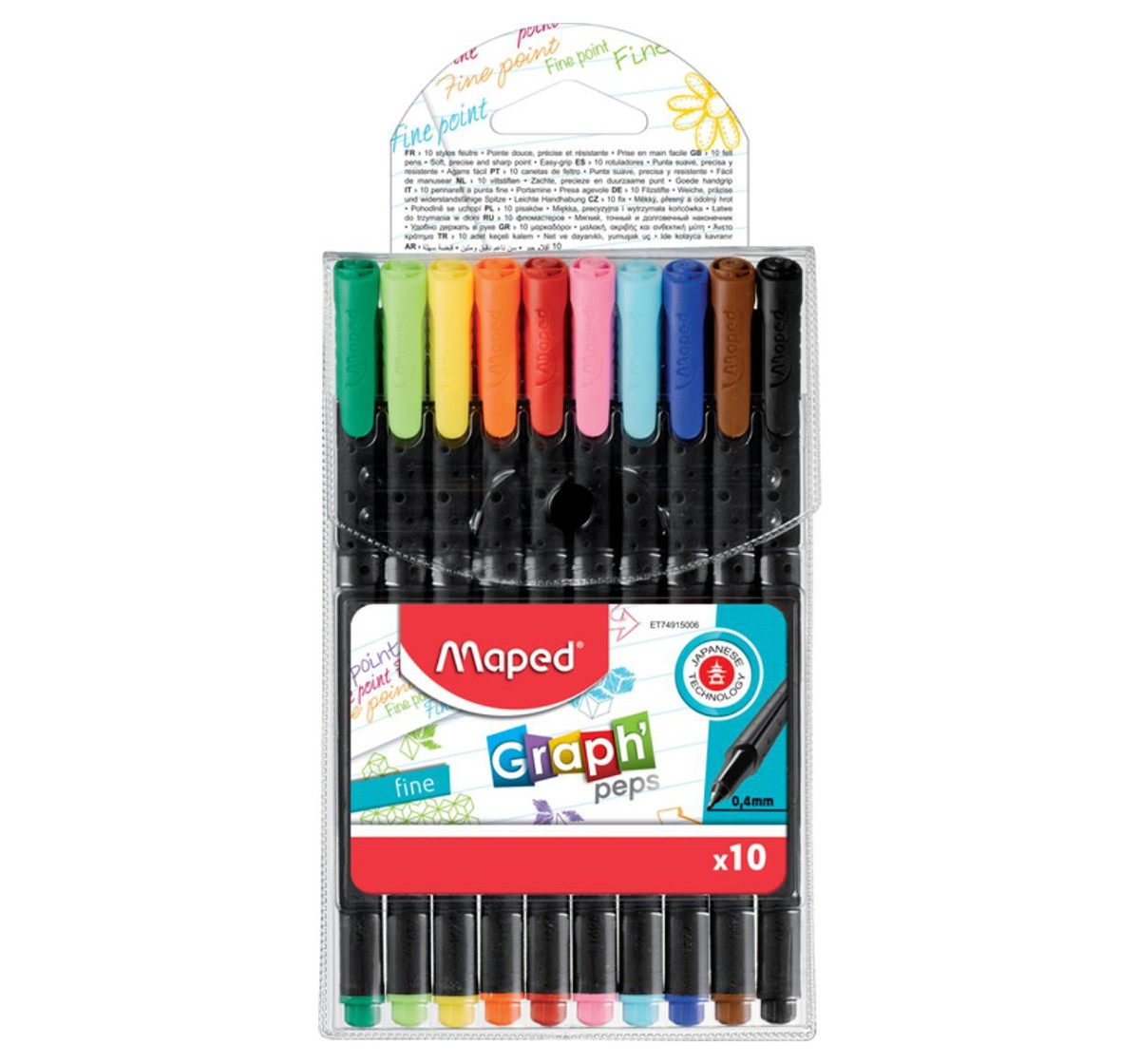 Maped 10 Graphpeps Fineliners Assorted, Unisex 7Y+ (Multicolour)