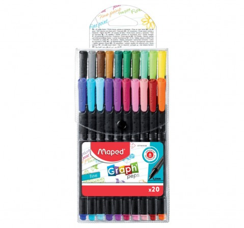 Maped 20 Graphpeps Fineliners Assorted, Unisex 7Y+ (Multicolour)