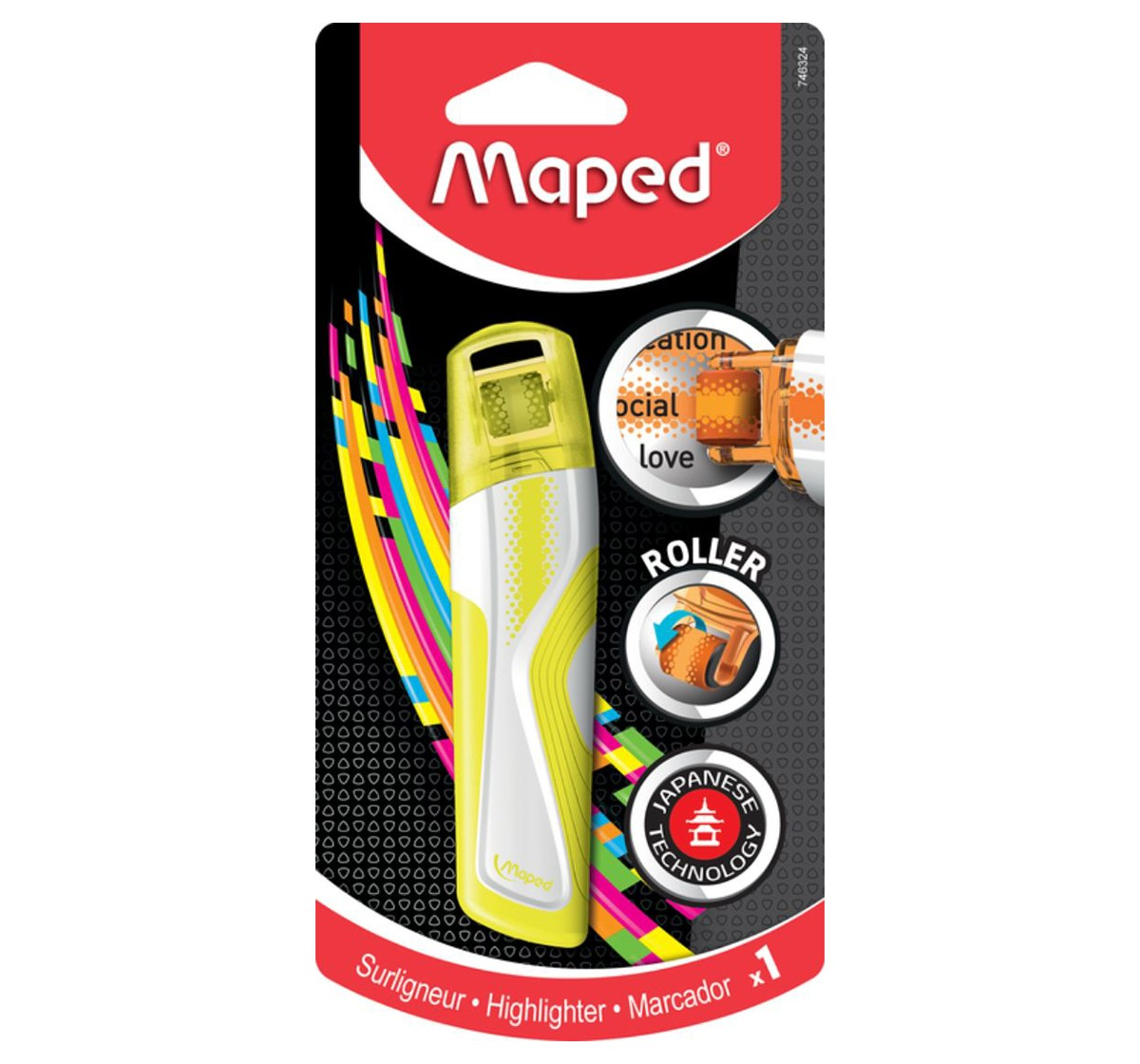 Maped 1 Highlighter Roller, Unisex 7Y+ (Yellow)