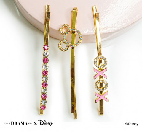 Hair Drama Company Disney Minnie Pins , Set Of 3(One Size), Girls, 9Y+(Multicolor)