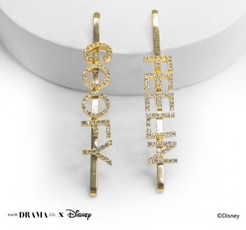 Hair Drama Company Disney Goofy Pins , Crystal , Set Of 2(One Size), Girls, 9Y+(Gold)
