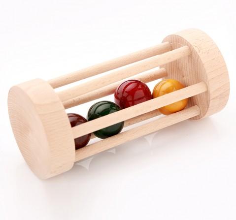 Ariro Wooden Rolling Rattle, Unisex, 4M+(Multicolour)