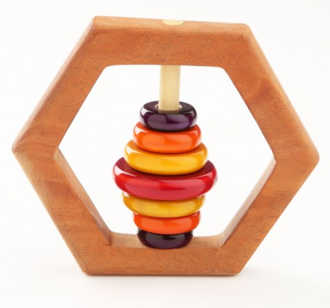 Ariro Wooden Rattle Hexagon, Unisex, 4M+(Multicolour)