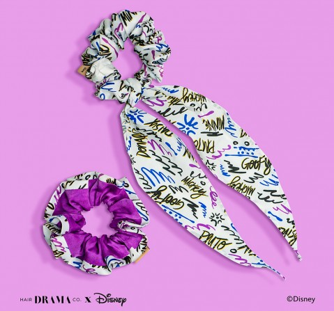 Hair Drama Company Disney Mickey And Friends Scrunchies Set Of 2(One Size), Girls, 9Y+(White)