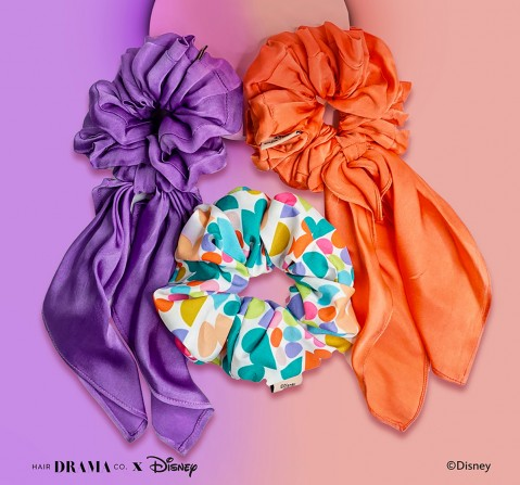 Hair Drama Company Disney Mickey For Days Scrunchies Set Of 3(One Size), Girls, 9Y+(Multicolor)