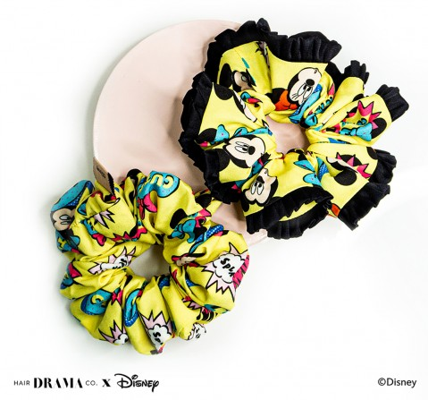 Hair Drama Company Disney Mickey And Friends Comic Scrunchies Set Of 2(One Size), Girls, 9Y+(Yellow)