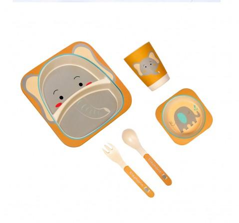 Polka Tots Bamboo Fiber 5 Pieces Dining, Elephant, Unisex 0M+ (Multicolour)