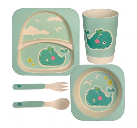 Polka Tots Bamboo Fiber 5 Pieces Dining, Whale, Unisex 0M+ (Green)