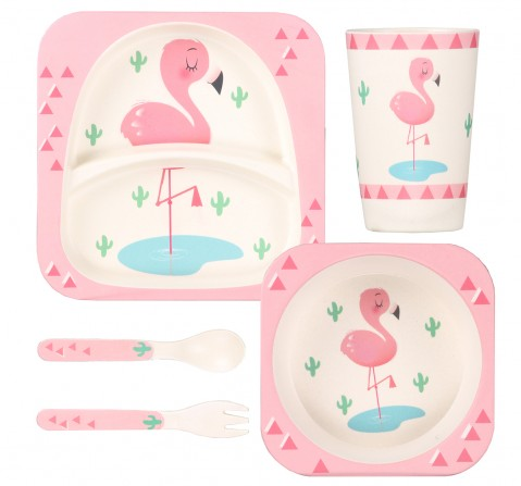 Polka Tots Bamboo Fiber 5 Pieces Dinning Set, Flamingo, Unisex 0M+ (Pink)