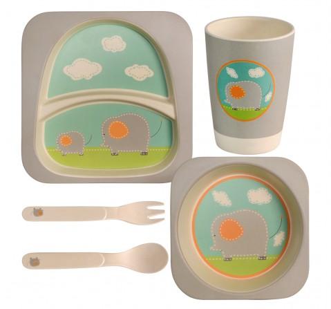 Polka Tots Bamboo Fiber 5 Pieces Dinning Set, Baby Elephant, Unisex 0M+ (Grey)