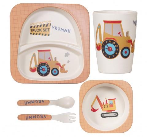 Polka Tots Bamboo Fiber 5 Pieces Dinning Set, Truck, Unisex 0M+ (Multicolour)