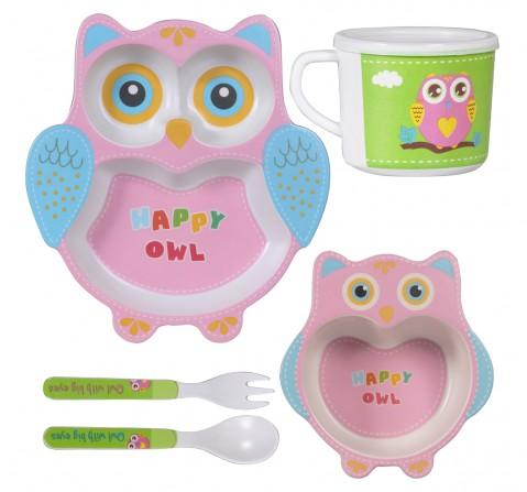 Polka Tots Bmbo Fib 5 Pieces Dinning, Happy Owl, Unisex 0M+ (Pink)